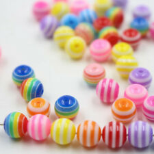 100/200Pc Mixed Stripe Round Acrylic Loose Spacer Beads Jewelry Charms 6mm 8mm