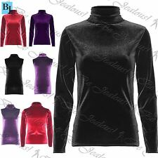 Womens Velvet Turtle Polo Neck Sleeveless Top Ladies Stretch Full Sleeve T Shirt