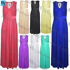 Womens Ladies Sleeveless Ruched Pleated Tie Back V Neck Swing Plain Maxi Dress