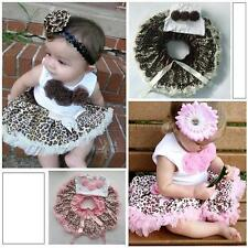 Toddler Baby 2Pcs Kids Girls Tutu Dress Flower Top+Skirt Leopard Outfits Clothes