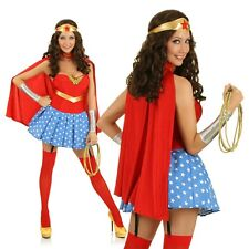 Adult Wonder Woman Superhero Costume Halloween Hero Fancy Dress Party Outfit