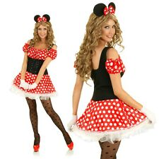Adult Pin Up Girl Minnie Mouse Costume Halloween Animal Fancy Dress Party Outfit