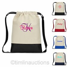 Personalized Canvas Cinch Sack Backpack Drawstring Tote Bag Beach Gym Shopping