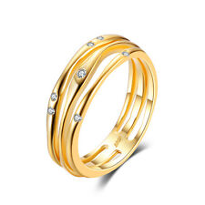 Anniversary Wedding Band Ring CZ Solid 925 Sterling Silver 18k Gold Plated