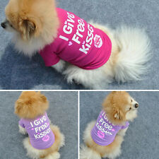 Pink Kiss Pet Dog Puppy Cotton T Shirt Summer Coat Clothes Costume Apparel Cute