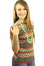 DEALZONE Lovely Zig Zag Print Top 3X Women Plus Size Multi-Colored Casual