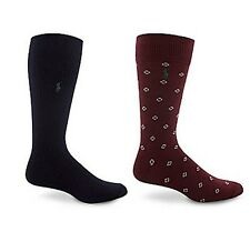 POLO RALPH LAUREN MID-CALF DRESS SOCKS 2-PACK wine sock sz 10-13 shoe sz 6-12.5