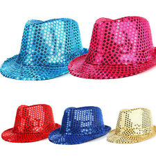New Unisex Fedora Sequin Hat Shiny Sparkle Cap Costume Prom Dance Party Jazz Hat