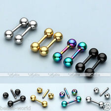 16G Barbell Ear Piercing Stud Screw Tragus Helix 6mm Bar Stainless Steel Earring