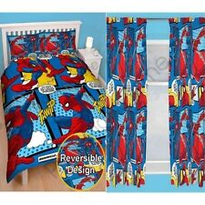 "SPIDERMAN WEBHEAD DOUBLE DUVET COVER & CHOICE OF 54"" & 72"" CURTAINS KIDS BEDDING"