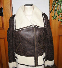 NEW MEMBERS ONLY Womens/Girls  Faux Leather & Fur Motorcycle Jacket sz. XS-S