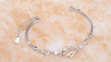 Ladies 18K White Gold GP multiple Crystal Double Heart Bracelet Jewelry