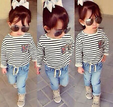 2PCS Kids Baby Girls T-Shirt + Denim Pants Children Clothes Outfits Set Toddler