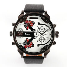 Deluxe OULM Sport Dual Dial Analog Quartz Mens PU Leather Band Gents Wrist Watch