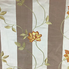 Floral Embroidered Striped Faux Silk Curtain/Craft Fabric Rust