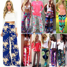 New Women Casual Palazzo Yoga Trousers Wide Leg Hippie Long Stretch Flare Pants