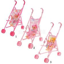 Cute Multicolored Toy Set Plastic Doll Stroller with Doll Girl for Children Gift