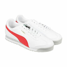 Puma Roma Basic Mens White Red Leather Lace Up Sneakers Shoes