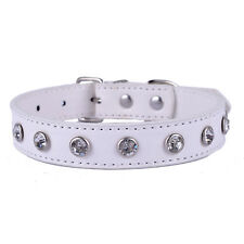 White Leather Studded Dog Collar Rhinestones CharmSmall Pet Supplies Size S M L