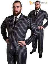 Adults 1920s Gangster Costume Mens Pinstripe Suit 20s Pimp Fancy Dress Outfit