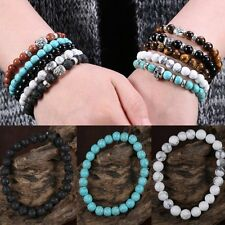 Fashion Natural Stone Lava Beaded Charm Buddha Man Woman Elastic Bracelet