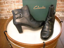 Clarks Black Leather Sapphire Vesta Buckle Ankle Boots New