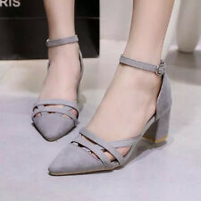 New Cut-outs Pumps Gladiator Pointed Toe Career Thick With Fretwork Shoes G