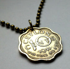 UK Ceylon 10 Cents Sri Lanka coin pendant Sinhalese necklace Tamil Kotte n000932