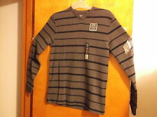 """NEW  """"FADED GLORY"""" GREY w/ BLACK STRIPES   L/S  SUEDED RIB V-NECK PULLOVER"""