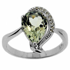 925 Sterling Silver 1.5 Ct Natural Green Amethyst & White CZ Ring