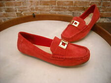 Isaac Mizrahi Alcot Red Suede Lock Detail Moccasins Loafer NEW