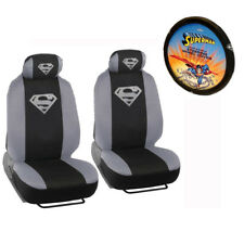 New 3pc Set Superman Silver Seat Covers & Steering Wheel Cover