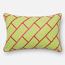 Embroidered Cotton Lime/ Pink Feather and Down Filled or Polyester Filled 13 x 2