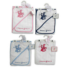 NEW POLO 2pc GIFT SET - BABY HOODED TOWEL w WASHCLOTH White Blue & Pink