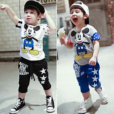 Kids Boy Girls Cartoon Mickey Tee Tops T-Shirt + Pants Baby Summer Outfits Set