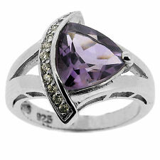 925 Sterling Silver 2.5 Ct Natural Purple Amethyst & White CZ Ring