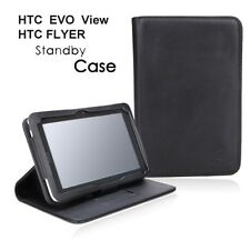 HTC FLYER / EVO VIEW 4G BLACK STANDBY SLIM LEATHER CASE STAND PORT-FOLIO COVER