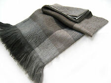 Alpaca and Lambswool Throw Blanket, Beautiful All Season - Gray with Brown