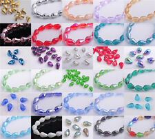 10pcs 14x10mm Faceted Crystal Glass Teardrop Jewelry Making Loose Spacer Beads