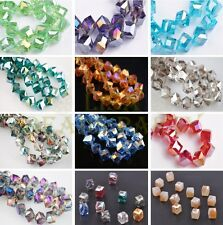 New 5pcs 10mm Diagonal Cube Square Faceted Crystal Glass Loose Beads Findings