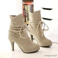 Chic Womens faux suede high stilettos heel lace up fashion ankle boots pumps