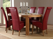 Clifton & Boston Oval Oak Dining Room Table and 4 6 Leather Chairs Set (Red)