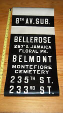 VINTAGE NYC QUEENS BUS ROLL SIGN 8TH AVE SUBWAY JAMAICA CEMETERY BELMONT PARK NY