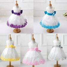 Sweet Girls Kids Wedding Pageant Bridesmaid Child Petals Party Flower Dress 2-7Y