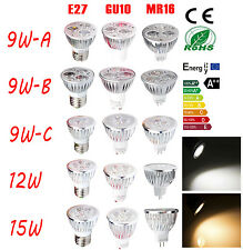 Bright 9W 12W 15W  E27 GU10 MR16 LED Light Bulb Spotlight Lamp Warm Cool White