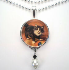 CAT KITTEN 'VINTAGE CHARM' SILVER OR BRONZE ART PENDANT NECKLACE BY CHARMEDWARE