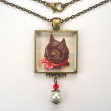 BLACK CAT KITTEN RED BOW BRONZE OR SILVER PENDANT NECKLACE VINTAGE CHARM JEWELRY