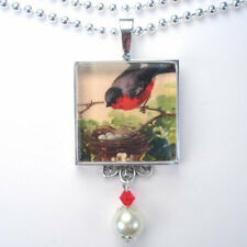 "RED ROBIN BIRD w NEST ""VINTAGE CHARM"" SILVER OR BRONZE PENDANT NECKLACE"