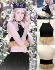 Women's Retro Fur Stitching Black Vest Backless Off-Shoulder Navel-baring Halter