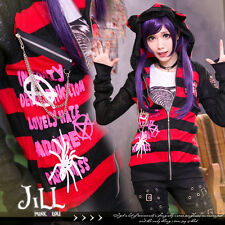 punk KERA rock black magic tarantula cat ear striped hooded cardigan GA140 R